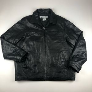 Columbia 100% Leather Zip Up Jacket Black Sz Large